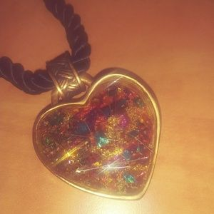 Chico's Gold/Multi Heart Necklace
